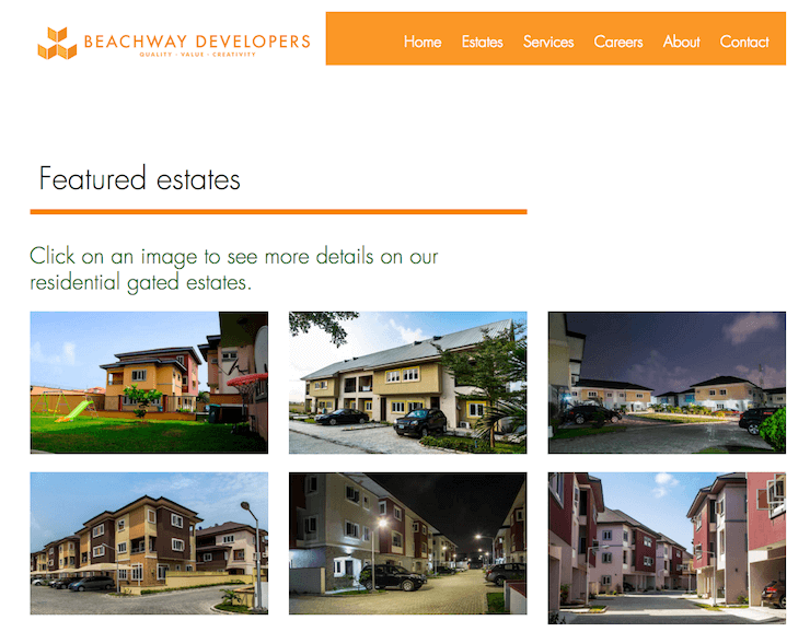 website design and development for beachway developers